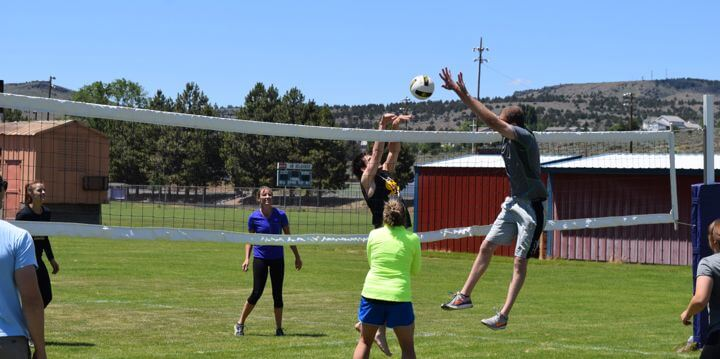 Harney County citizens playing volleyball